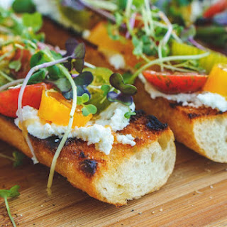 Grilled Baguette with Heirloom Tomatoes & Goat Cheese.