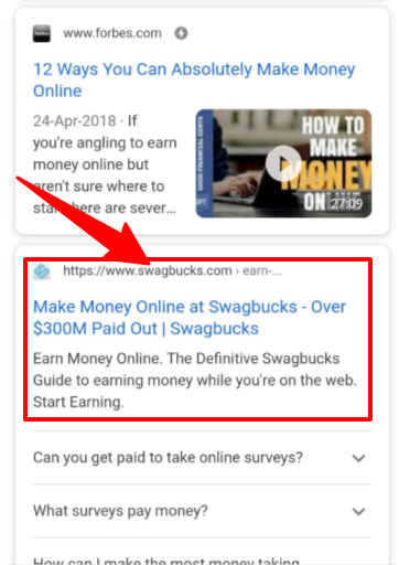 mobile device search bar on Google