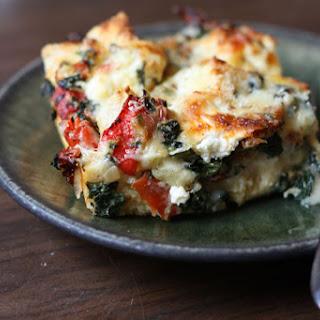 Triple-cheese Spinach Strata