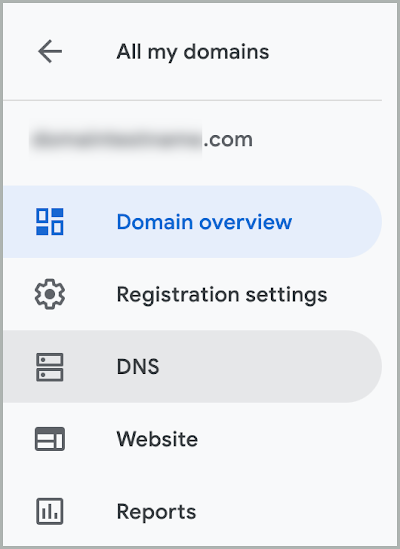 The DNS option is selected on the left menu.