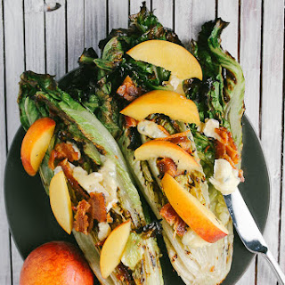 Grilled Romaine Salad With Blue Brie, Nectarines And Bacon.