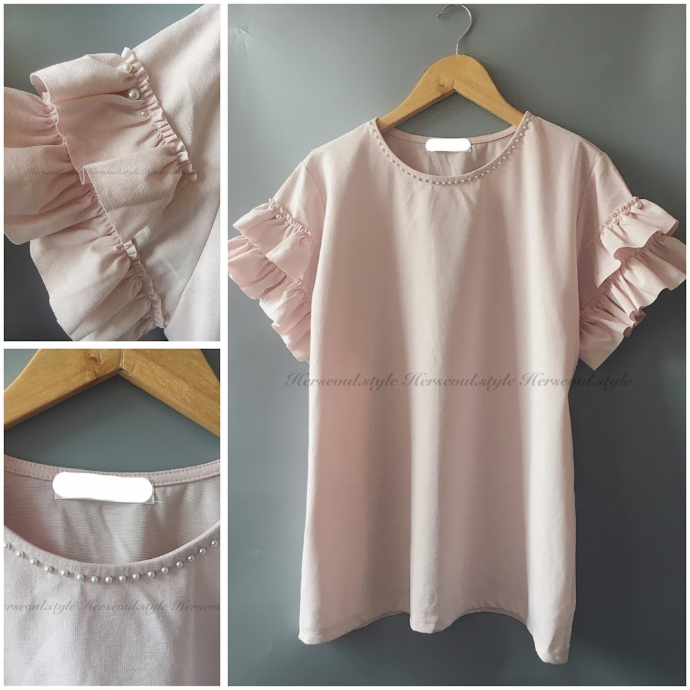 💖粉紅層次ruffle袖top💖