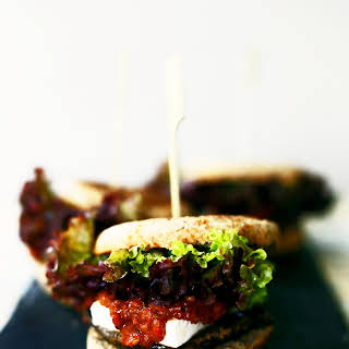 Portobello Burgers with Roasted Red Pepper Tomato Jam and Feta.