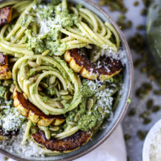 Pumpkin Seed Pesto Pasta with Caramelized Delicata Squash