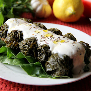Bulgur-stuffed Kale Leaves.