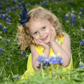 Aulove by Marie Burns - Babies & Children Child Portraits ( child, girl, texas, yellow, flowers, bluebonnets )
