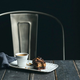 Coffee, Hazelnut and Dark Chocolate Caramel Slice
