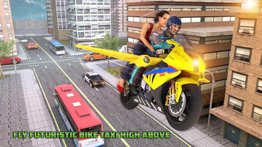 Real Flying Bike Taxi Simulator: Bike Driving Game apkmr screenshots 13