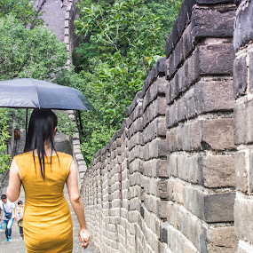 Chinese Great Wall by Pilar Gonzalez - Uncategorized All Uncategorized ( walking, greatwall, umbrella, young girl, china,  )