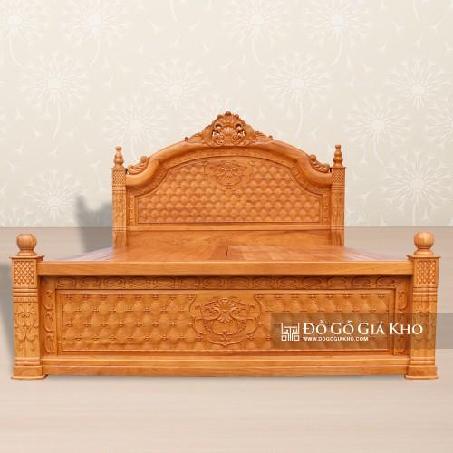 Giường Ngủ Gỗ Gõ Gấm Kiểu Hoàng Gia - GN143
