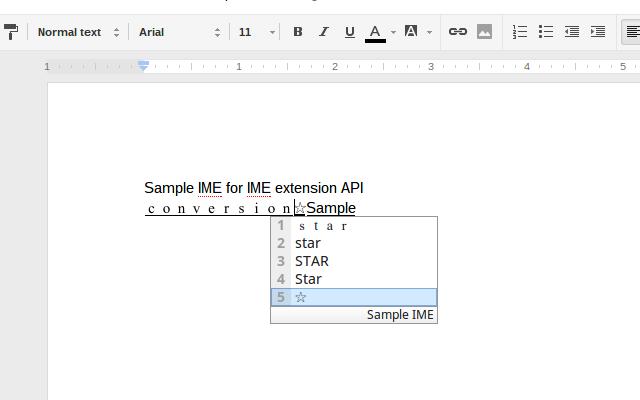 Sample IME for IME extension API