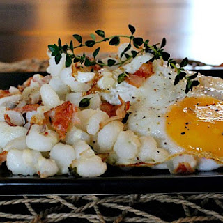 Toasted Hominy, Bacon and Eggs