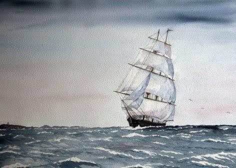 Seilskute - maleri: Thor Ivar Hansen