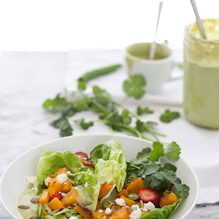 Roasted Butternut Squash Butter Lettuce Salad with Spicy Avocado Dressing