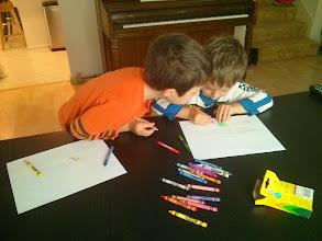 Photo: Clark and Finn Draw Sprites