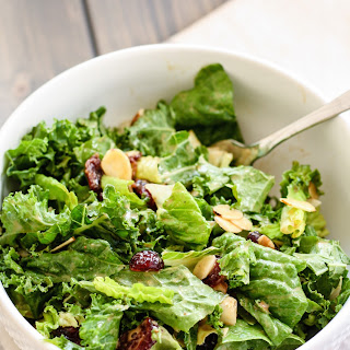 Kale and Romaine Cranberry Almond Salad.