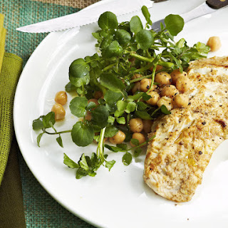 Grilled Fish with Chickpea and Herb Salad.