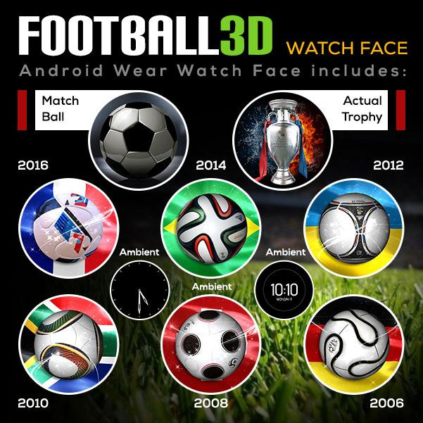 Football 3D World Watch Face- screenshot