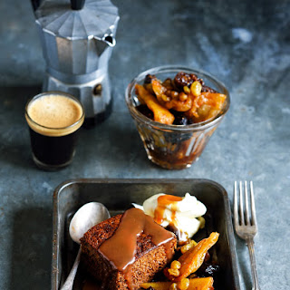 Gingerbread Pudding With Salted Caramel Sauce & Ginger Fruit Compote.