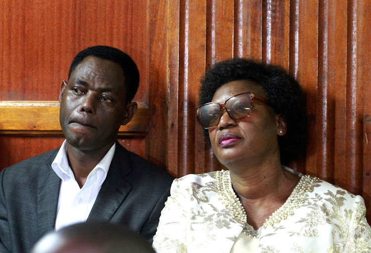 Ferdinand Masha with his Wife former Kasarani MP Elizabeth Ongoro before magistrate Lawrence Mugambi to answer charges with conspiracy to commit fraud on November 4,2019.