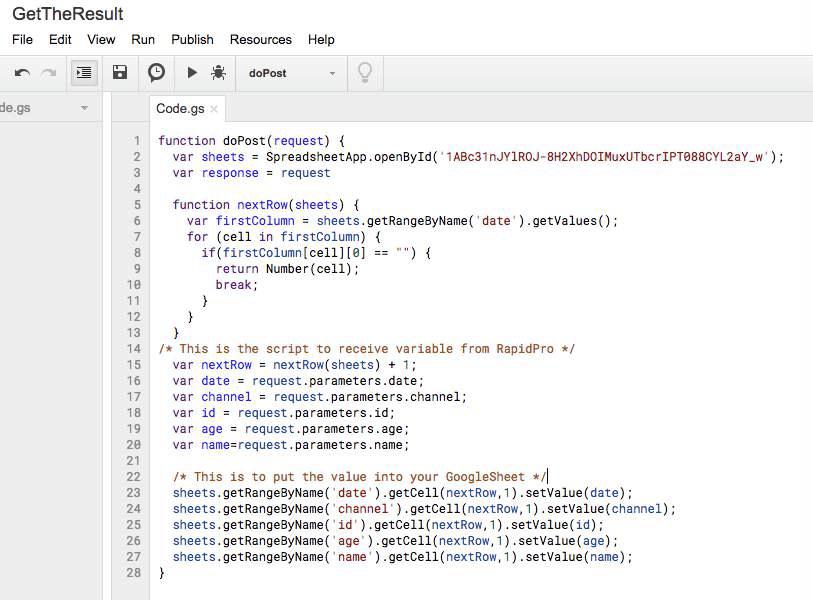 Setvalues Google Script