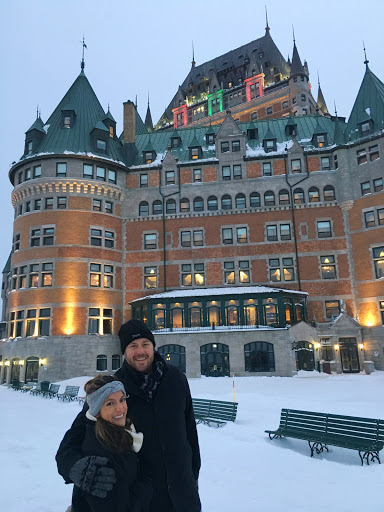 Chateau-Frontenac-front.jpg -  A couple arrives at Chateau Frontenac in Quebec City, said to be the most-photographed hotel in the world.