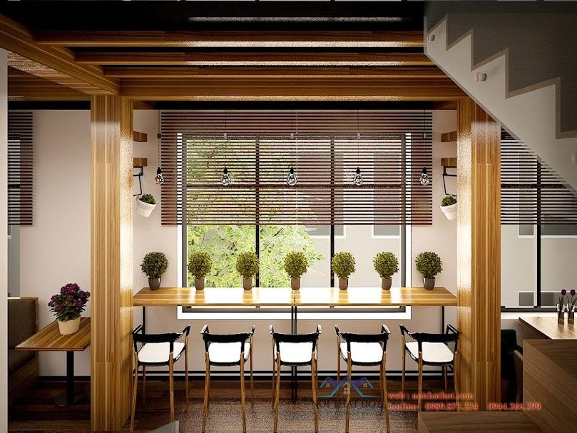 Thiết kế quán cafe mộc đầy sức sống