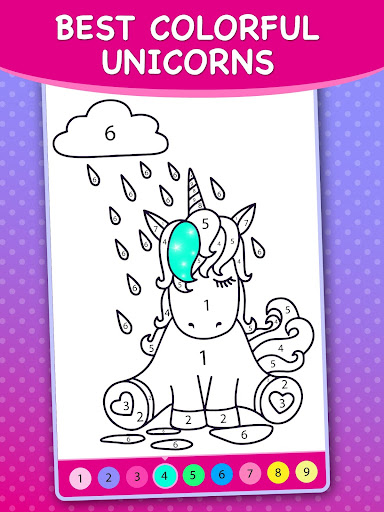 Animated Unicorn Coloring Book By Numbers Screenshot
