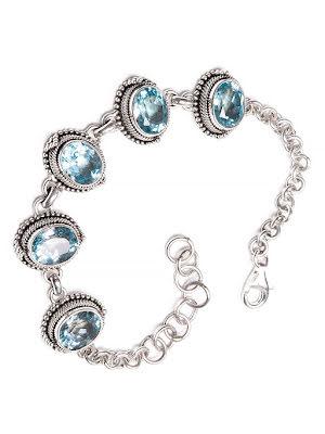 Blå topas armband med silverlänkar och filigran