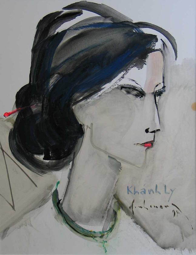 Khánh Ly, sơn dầu trên giấy 18 x24 in, Đinh Cường
