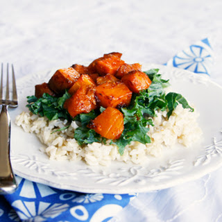 Spicy Honey Chipotle Squash and Sweet Potatoes over Brown Rice