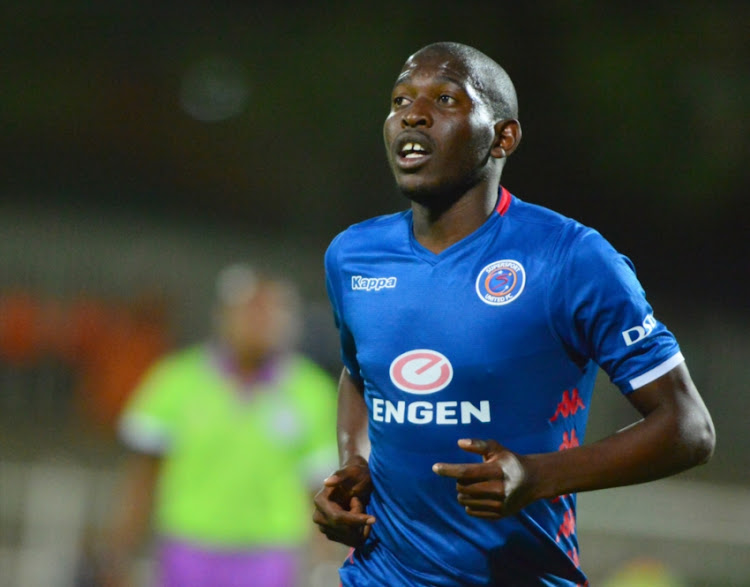 Aubrey Modiba of SuperSport United during the Absa Premiership match between Polokwane City and SuperSport United at Old Peter Mokaba Stadium on October 02, 2018 in Polokwane, South Africa.