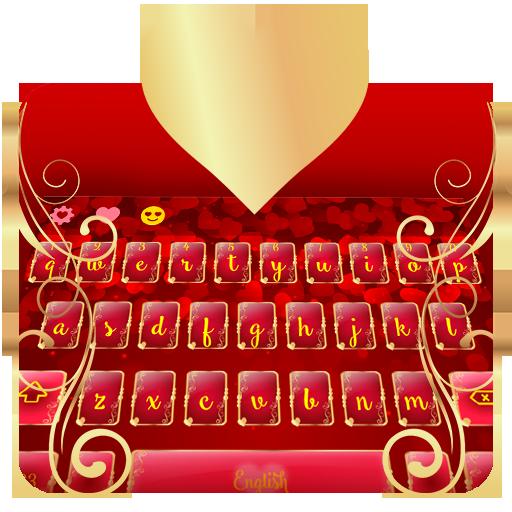 Golden Love Heart Typewriter