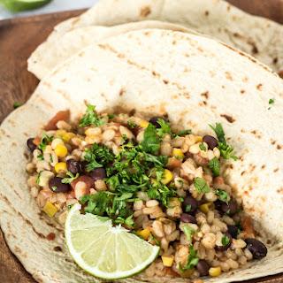 Crockpot Black Bean and Barley Burritos