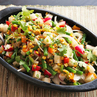 Charred Corn, Radish, Jicama, and Green Bean Salad With Lime Dressing