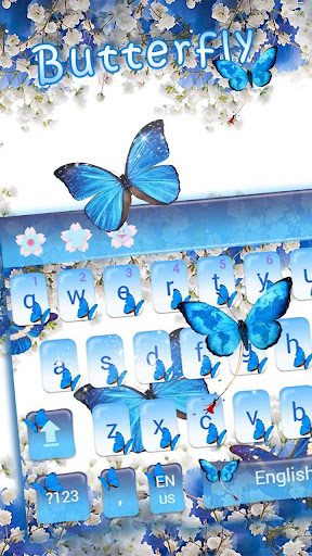 Blue Butterfly Keyboard Theme Baby's Breath Flower 10001005 screenshots 2