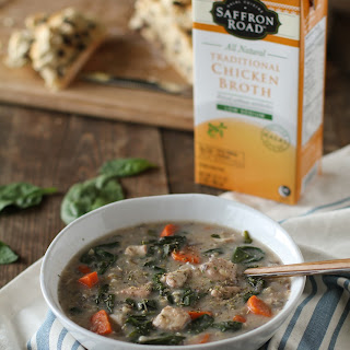 Crock Pot Chicken and Wild Rice Soup with Spinach.