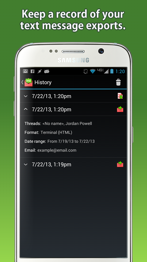 Email Text Messages- screenshot