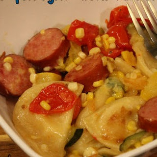 Kielbasa & Pierogies with Summer Veggies