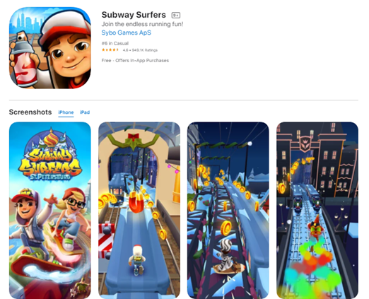 Mobile app type - Games - Subway Surfers