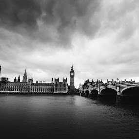 Big Ben by Andrej Folo - City,  Street & Park  Skylines ( clouds, skyline, may, uk, black and white, 2015, cityscape, travel, landscape, city, england, london, cloudy, big ben, bridge, nikon, houses of parliament, river thames, travel photography,  )
