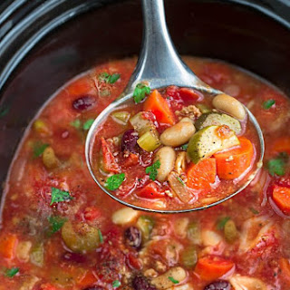 Slow Cooker Homemade Minestrone Soup.