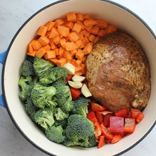 One Pot Roasted Garlic and Herbs Pork with Veggies.