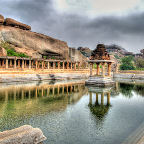 Reflected Ruins by Aparajita Saha - Buildings & Architecture Public & Historical ( temple, reflection, hampi, 12th cent. ad, ancient architecture )