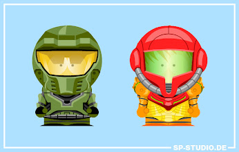 Photo: Special www.sp-studio.de update: Costumes for Samus Aran (Metroid) and Master Chief (HALO)! Which one is your favorite?  After some Sony related videogame items my new update is based on the two biggest action heroes from Nintendo and Microsoft's Xbox. Their iconic body armor and helmets can be found in the SP-Studio now, so you can use them to build your own characters. It took me a while to draw those detailed costumes.  By the way: You can support sp-studio.de by sharing this post if you like the update. Thanks :).