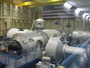 Photo: Aerial views of Quest, Destiny, Unity and Harmony module Mockups, where astronauts perform ISS simulations