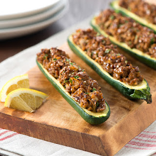 Bulgur and Turkey Stuffed Zucchini.