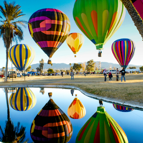 Balloon Reflections by Tina Hailey - Transportation Other ( lake havaus az, tinas captured moments, colors, transportation, hot air balloons, balloons,  )