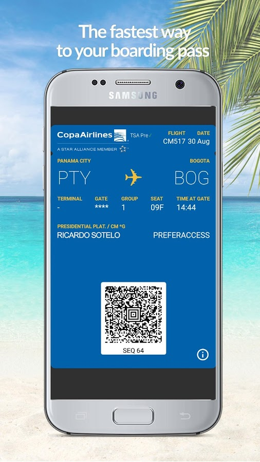 Copa Airlines: captura de pantalla