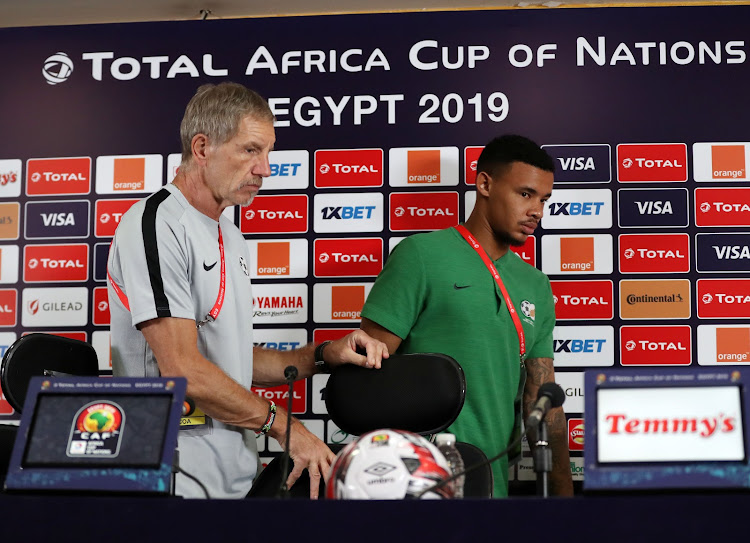 Bafana Bafana coach Stuart Baxter and goalkeeper Ronwen Williams leave the press conference room at Cairo International Stadium in Cairo, Egypt, on July 9 2019. South Africa face Nigeria in the Afcon quarterfinal match on Wednesday July 10 2019.